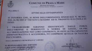 Ordinanza Isola Dino