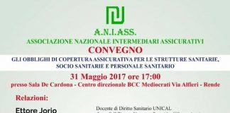 Rende | il 31 maggio il convegno sugli obblighi di copertura assicurativa per strutture e personale sanitario