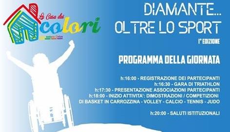 'Diamante... oltre lo sport', sabato 10 giugno l'evento organizzato da 'Casa dei Colori onlus'