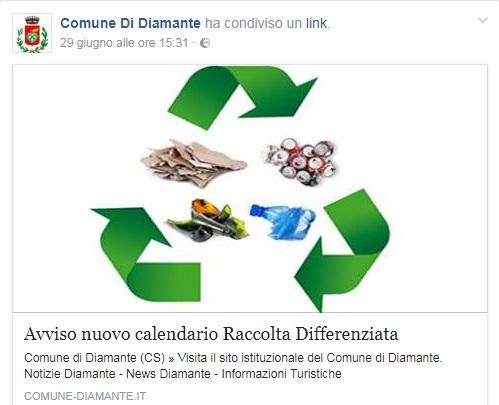 Diamante (Cs) | La minoranza consigliare racconta lo strano caso del nuovo calendario della raccolta differenziata