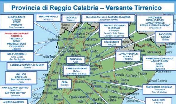 Relazione Dia, 2° semestre 2016: mappa 'ndrine calabresi - mandamento tirrenico