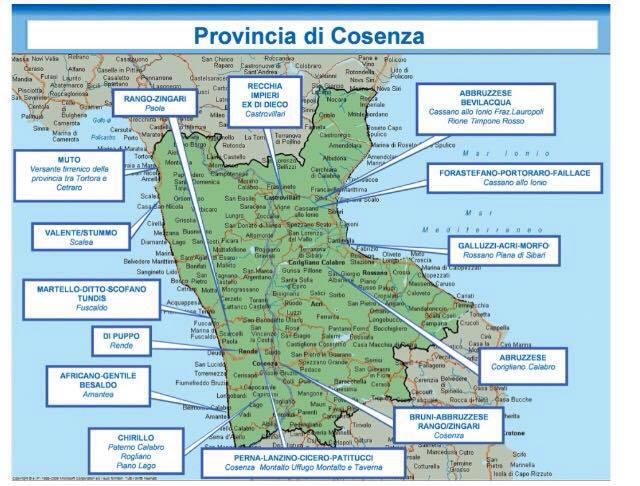 Relazione Dia, 2° semestre 2016: mappa 'ndrine calabresi- provincia di Cosenza