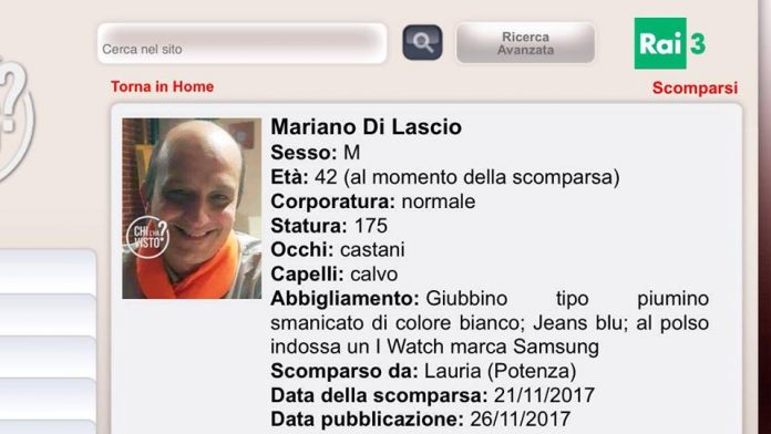 Lauria (Pz), il caso della scomparsa di Mariano Di Lascio approda a 'Chi l'ha visto'