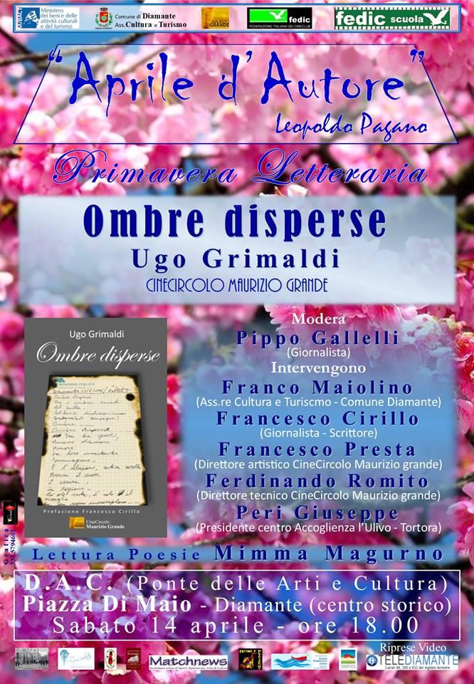 Diamante, 'Aprile d'autore': secondo appuntamento con 'Ombre di sperse' di Ugo Grimaldi