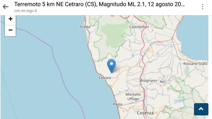 In mattinata una terremoto di 2.1 ha scosso Cetraro: epicentro a 10 km di profondità