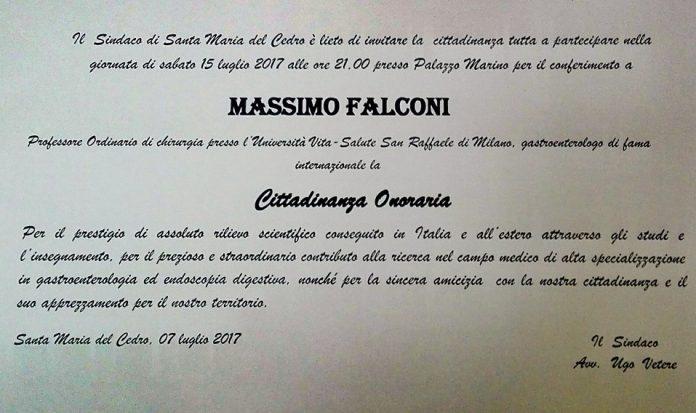 Santa Maria del Cedro (Cs)   Il 15 luglio la cittadinanza onoraria al Professore Massimo Falconi